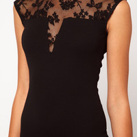 Black Bodycon Cut-Out Dress with Lace Accent