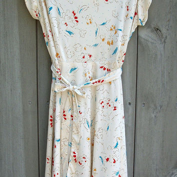 Vintage plus-size dress - ivory with colorful floral print