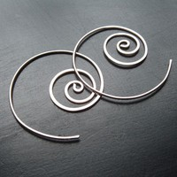 Silver Earrings Sterling Silver Hoops Coiled Earrings