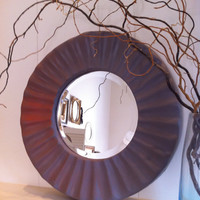 Grey Stylish Mirror, Modern Home Decor, Upcycled, Recycled, Apartment Decor, Unique Masculine Decor