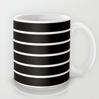White Stripes on Black Pattern Mug by RexLambo