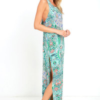 Mosaic Masterpiece Mint Blue Print Maxi Dress
