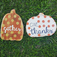 One of a Kind Wood Pumpkins, Hand Painted Fall Decor, Polka Dot Orange Gold and Cream Colored Pumpkins, One of Each Ready to Ship