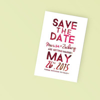 Printable Wedding Save the Date- Watercolor Type Invite - DIY Digital Ready to Print Invitation