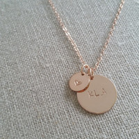 Heart and intial necklace-personalized- bridal gifts- bridesmaid gifts- love necklace- hand stamped- custom- silver- gold- roseg gold