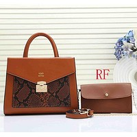 Women Leather Handbag Crossbody Satchel Set Two Piece