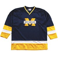 University of Michigan Applique Bar M Crable Sportswear Hockey Jersey Navy (Large)