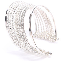 Silver Stacked High Polish Metal Cuff Bracelet