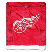 Detroit Red Wings NHL Royal Plush Raschel Blanket (Jersey Series) (50x60)
