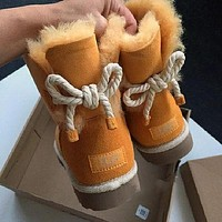 UGG hot sale new style back tie rope middle tube non-slip plush snow boots fashion ladies snow shoes