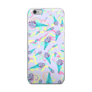 Hologram Ice Cream Cone Collage Teen Cute Girly Girls Pink & Sky Blue iPhone 4 4s 5 5s 5C 6 6s 6 Plus 6s Plus 7 & 7 Plus Case