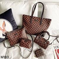 LV Classic Retro Checkerboard Shopping Bag Shoulder Crossbody Bag Five-Piece Set