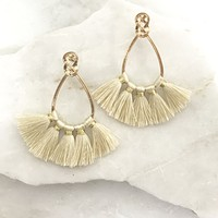 Infinity Gold Tassel Earrings in Ivory
