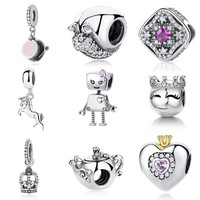 Authentic 925 Sterling Silver Beads Charm Unicorn Dangle Charms Fit Pandora Bracelets For Women Fashion Jewelry Making 2018 New
