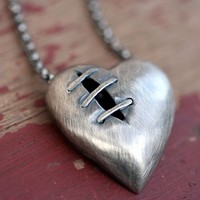 Sutured Heart necklace silver alloy sterling silver chain