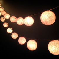 Cotton ball lights for home decor,party decor,wedding patio,20 pieces indoor string lights bedroom fairy lights white tone