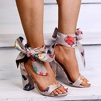 Women's Sandals In Square High Heels With Ribbons High Heels Women's Gladiators' High Heels