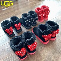 UGG style matching wool boots with bow tie are hot sellers for casual ladies