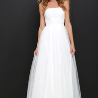 Sweet as a Song Ivory Lace Maxi Dress