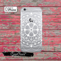 White Mandala Flower Case Buddhist Pattern Cute Clear Rubber Phone Case For iPhone 6, iPhone 6 Plus, iPhone 5/5s, iPhone 5c Transparent Case