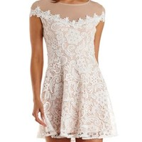 White Combo Nude-Lined Lace Illusion Skater Dress by Charlotte Russe