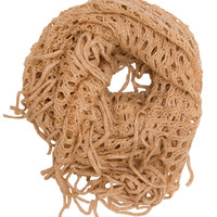 Farrah Fringe Infinity Scarf - Taupe - One Size / Taupe