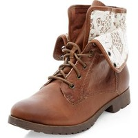 Tan Lace Fold Down Ankle Boots