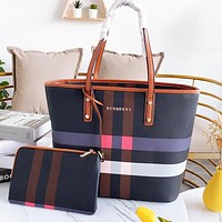 BURBERRY New Fashion Women Shopping Bag Leather Handbag Shoulder Bag Wrist Bag Two Piece Set