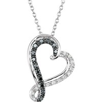 "Sterling Silver 1/5 CTW Black & White Diamond Heart 18"" Necklace"