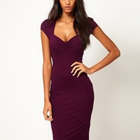 ASOS Midi Bodycon Dress With Ruched Bust at asos.com