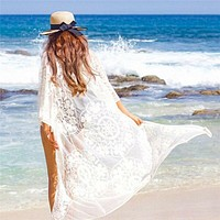 Summer Sexy Beach Dress Women Floral Lace Perspective Tunic Long Pareos Bathing Swimsuits Femme Holiday Kaftan Bikini Cover Ups