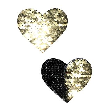 Gold & Black Reversible Sequin Pasties