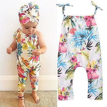 Adorable Infant Baby Girls Clothing Floral Romper Jumpsuit Sleeveless Flower Cute Sunsuit Clothes Baby Girl 0-24M