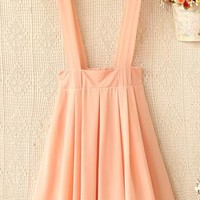 The waist after elastic straps pleated chiffon braces skirt from Fanewant