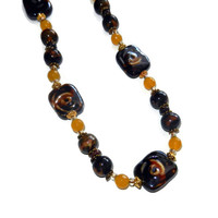 Brown, Yellow and Gold Beaded Necklace, Fall Beaded Necklace