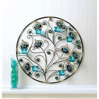 Peacock Plumes Circular Wall Sconce Tealight Holder