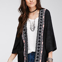 Embroidered Open-Front Cardigan