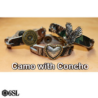 Braided Camo Bracelet with Concho of Your Choice