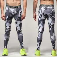 White Camouflage Stretch Pants Gym Skinny Pants [6572768071]