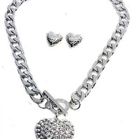 """Silver Plated Chunky 3D Heart with Lab Diamonds Pendant Chunky Link 20"""" Necklace 4mm Chain w/Heart Shape Earring Set"""