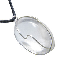 Large Tumbled Healing Rock Quartz Caged Crystal Lucky Charm Amulet Pendant Necklace