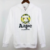 Bape Aape Fashion new bust letter pattern print thick keep warm couple hooded long sleeve top sweater White
