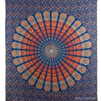 Blue Indian Floral Mandala Dorm Room Decor Hippie Tapestry Wall Hanging Bedspread Art