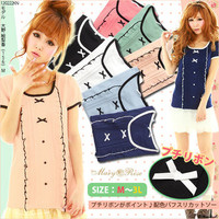 Rakuten: [petit ribbon point ♪ color puff pickpocket cut-and-sew YMK-362|] P]It has been had ◆- Shopping Japanese products from Japan