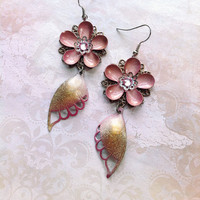 Fluttershy Earrings - Pink and Gold Butterfly Wings with Enamel Flowers and Swarovski Crystals - Faerie Princess