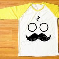 Mustache Shirt Pott Head T-Shirt Harry Potter TShirt Funny Shirt Yellow Sleeve Shirt Women Shirt Men Shirt Unisex Shirt Baseball Shirt S,M,L