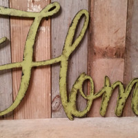 Olive green shabby chic rustic HOME sign CUSTOMIZE your own WORD decor farmhouse photo prop cottage primitive style barn decor rusty