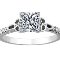 Engagement Ring - Princess Diamond Celtic Knot Engagement Ring with Diamond Accents in 14K White Gold - ES643PR