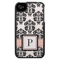 Pink and Black Damask Monogram iPhone 4 Case Cover from Zazzle.com