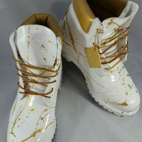 PEAPNU Custom White and Gold 'Cocaine' Timberland Boots- Hand Painted Timberlands- Custom Tim